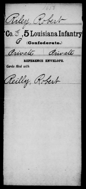 Riley, Robert - Age [Blank], Year: [Blank] - Roll Military Unit, R - Sh - Louisiana