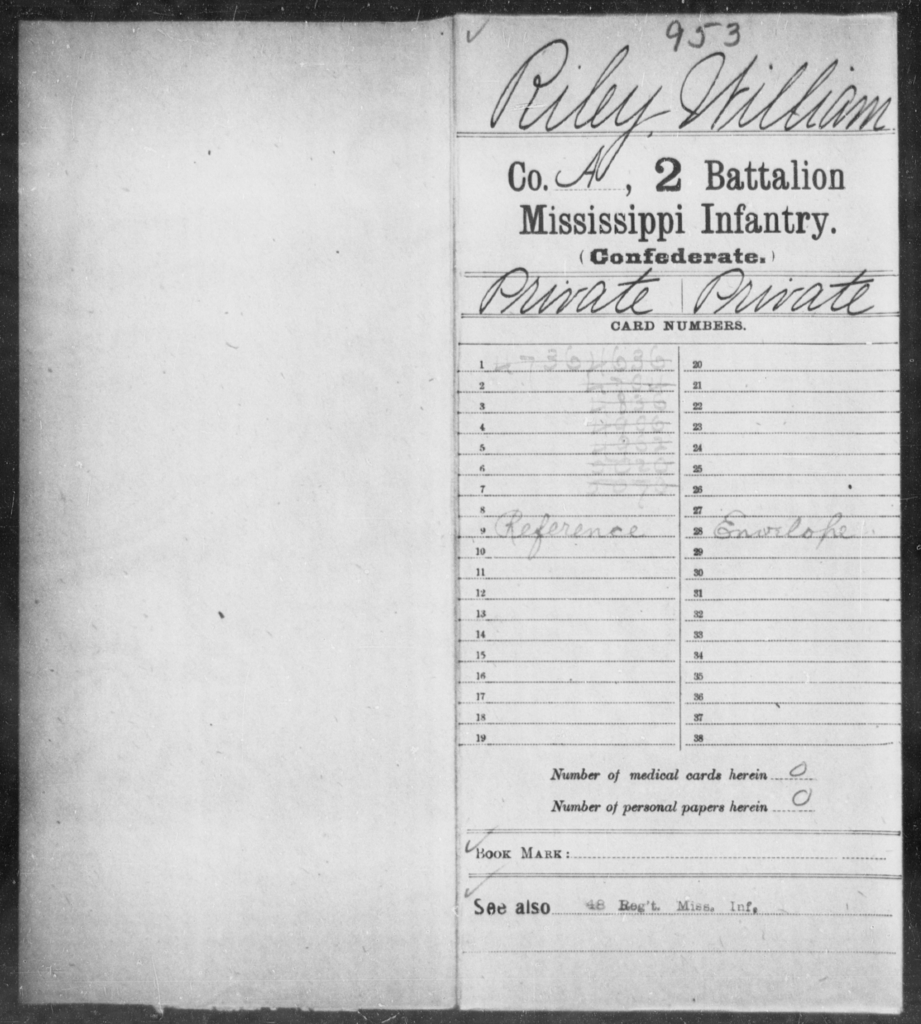 Riley, William - Age: [Blank], Year: [BLANK] - Mississippi Second Battalion, Infantry, R-Z AND Second (Davidson's) Infantry (Army of 10,000), A-O