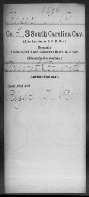 Riser, T P - Age: [Blank], Year: [BLANK] - South Carolina Third Cavalry N-R