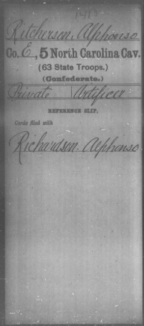 Ritcherson, Alphonso - Fifth Cavalry (63d State Troops)