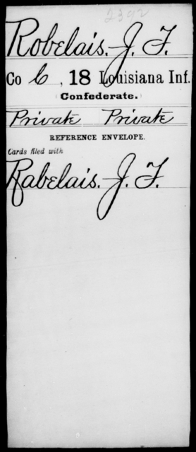 Robelais, J F - Age [Blank], Year: [Blank] - Eighteenth Infantry, PI - Sh - Louisiana