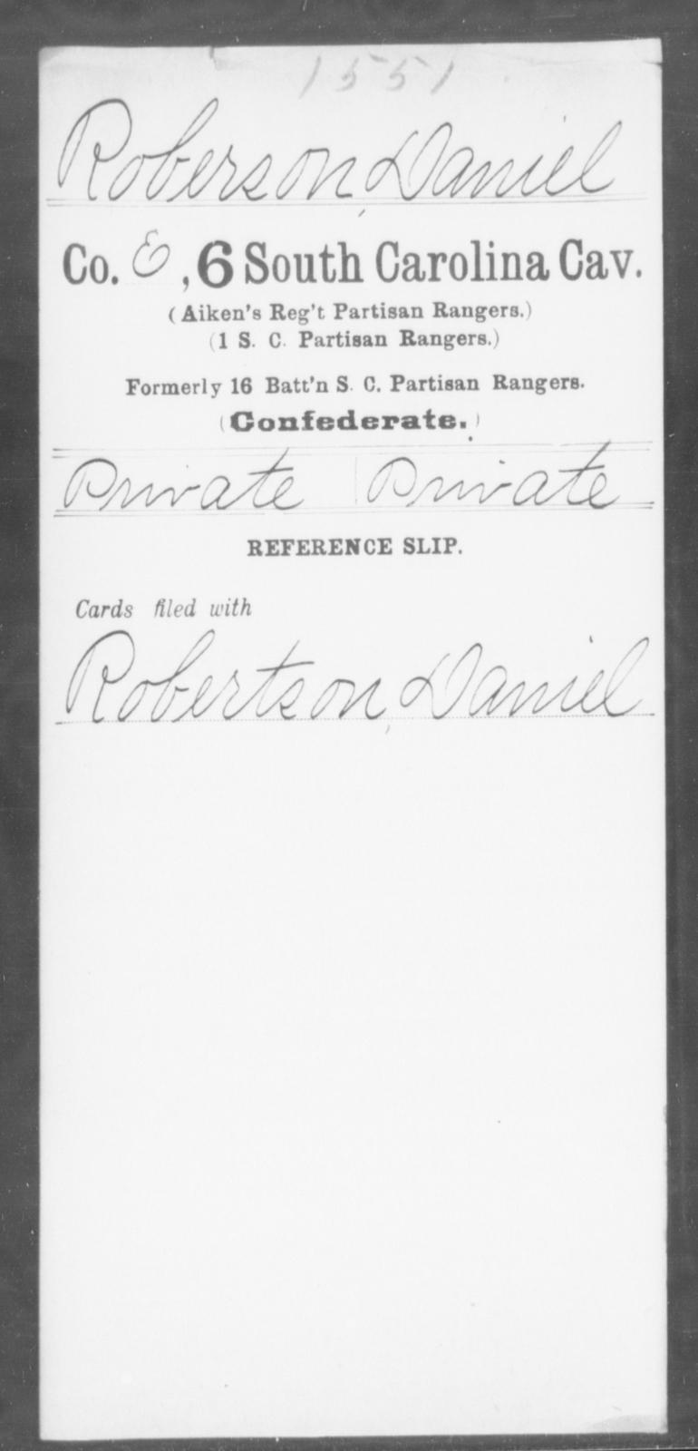 Roberson, Daniel - Age: [Blank], Year: [BLANK] - South Carolina Sixth Cavalry Me-Se
