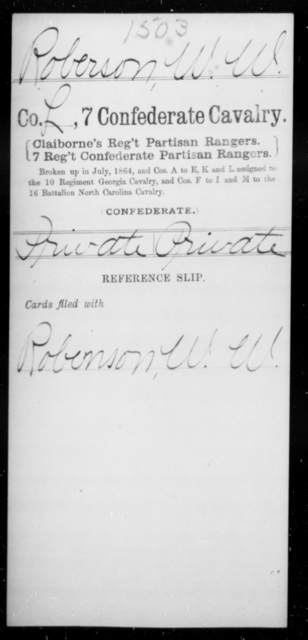 Roberson, W W - Age [Blank], Year: [Blank] - Seventh Confederate Cavalry, Pe-S - Raised Directly by the Confederate Government