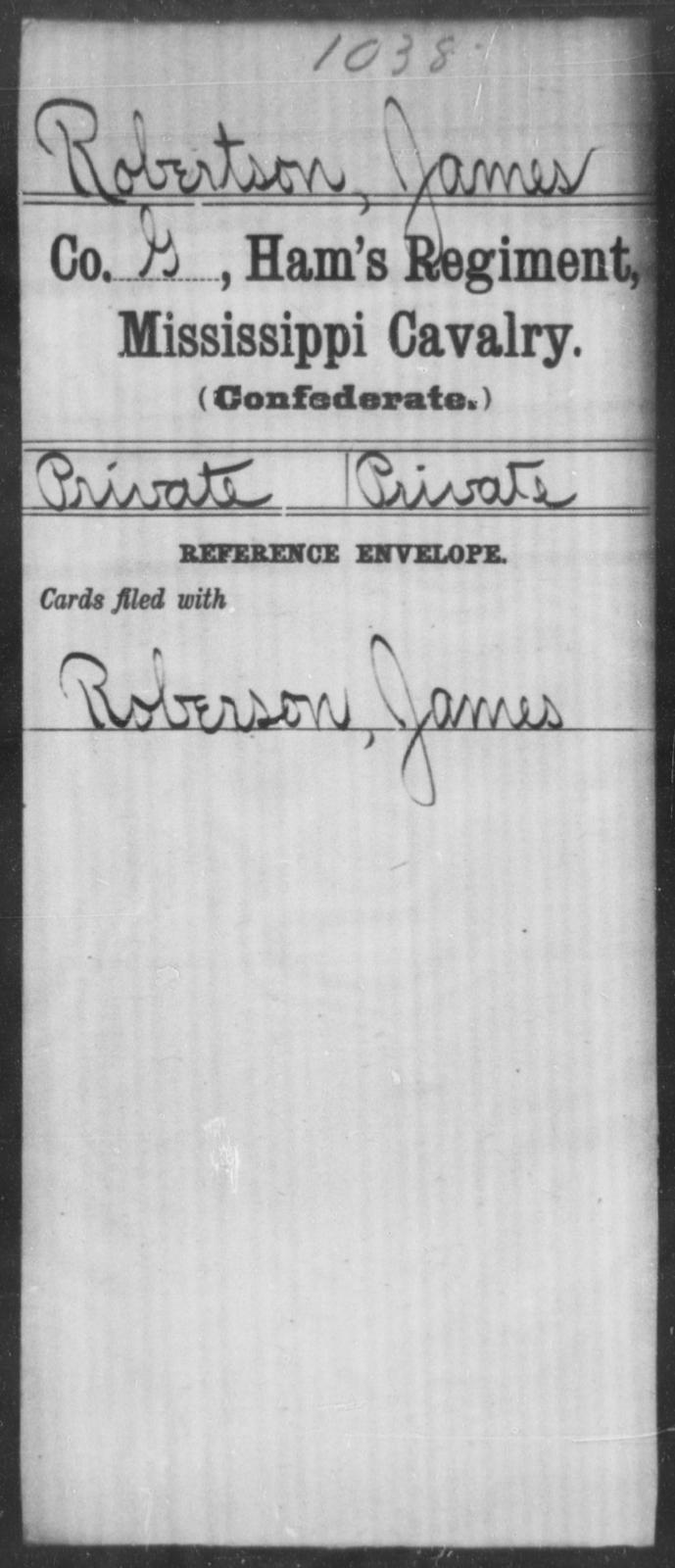 Robertson, James - Age: [Blank], Year: [BLANK] - Mississippi Ham's Regiment, Cavalry, H-S