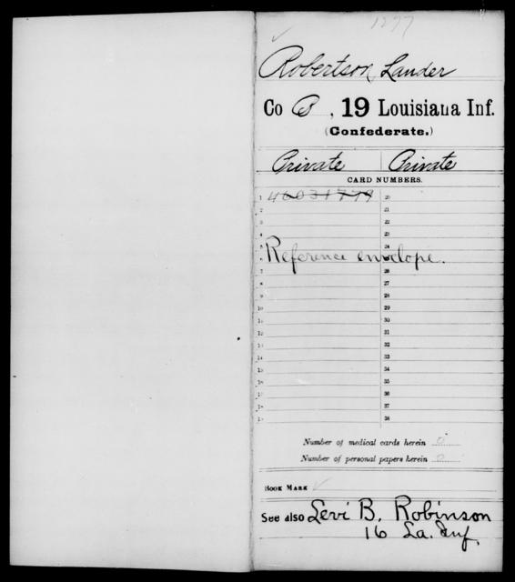 Robertson, Lander - Age [Blank], Year: [Blank] - Nineteenth Infantry, Ph - Sn - Louisiana