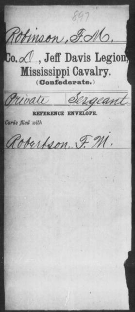 Robinson, F M - Age: [Blank], Year: [BLANK] - Mississippi Jeff Davis Legion, Cavalry, N-Sp