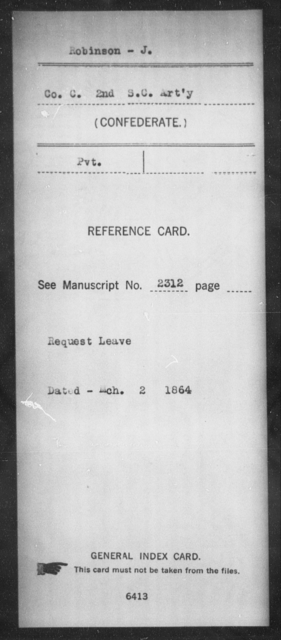 Robinson, J - Age: [Blank], Year: [BLANK] - South Carolina Second Artillery R-Se