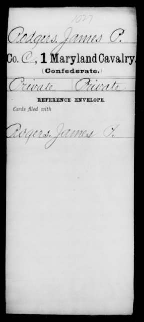 Rodgers, James P - Age [Blank], Year: [Blank] - First Cavalry, R-St - Maryland