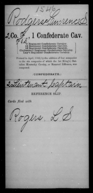 Rodgers, Lawrence S - Age [Blank], Year: [Blank] - First Confederate Cavalry, O-T - Raised Directly by the Confederate Government