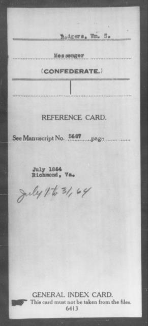 Rodgers, Wm S - Age: [Blank], Year: [BLANK] - South Carolina Seventh Cavalry M-S1