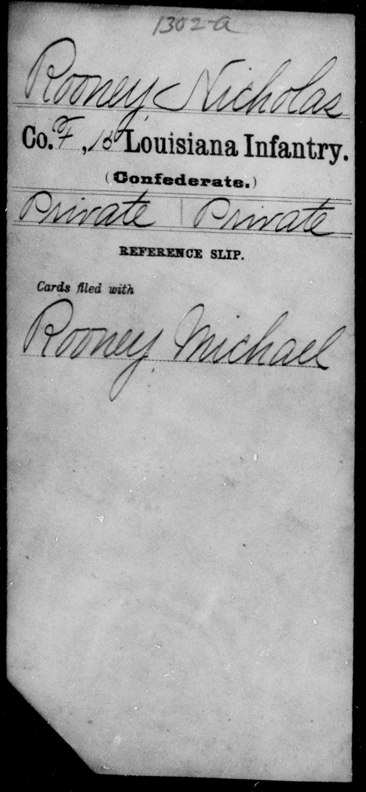 Rooney, Nicholas - Age [Blank], Year: [Blank] - Fifteenth Infantry, No - Sm - Louisiana