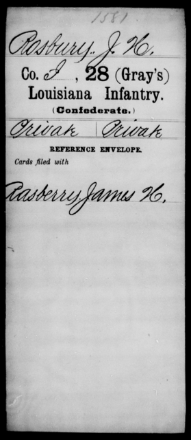 Rosbury, J H - Age [Blank], Year: [Blank] - Twenty-eighth (Gray's) Infantry, Q-V - Louisiana