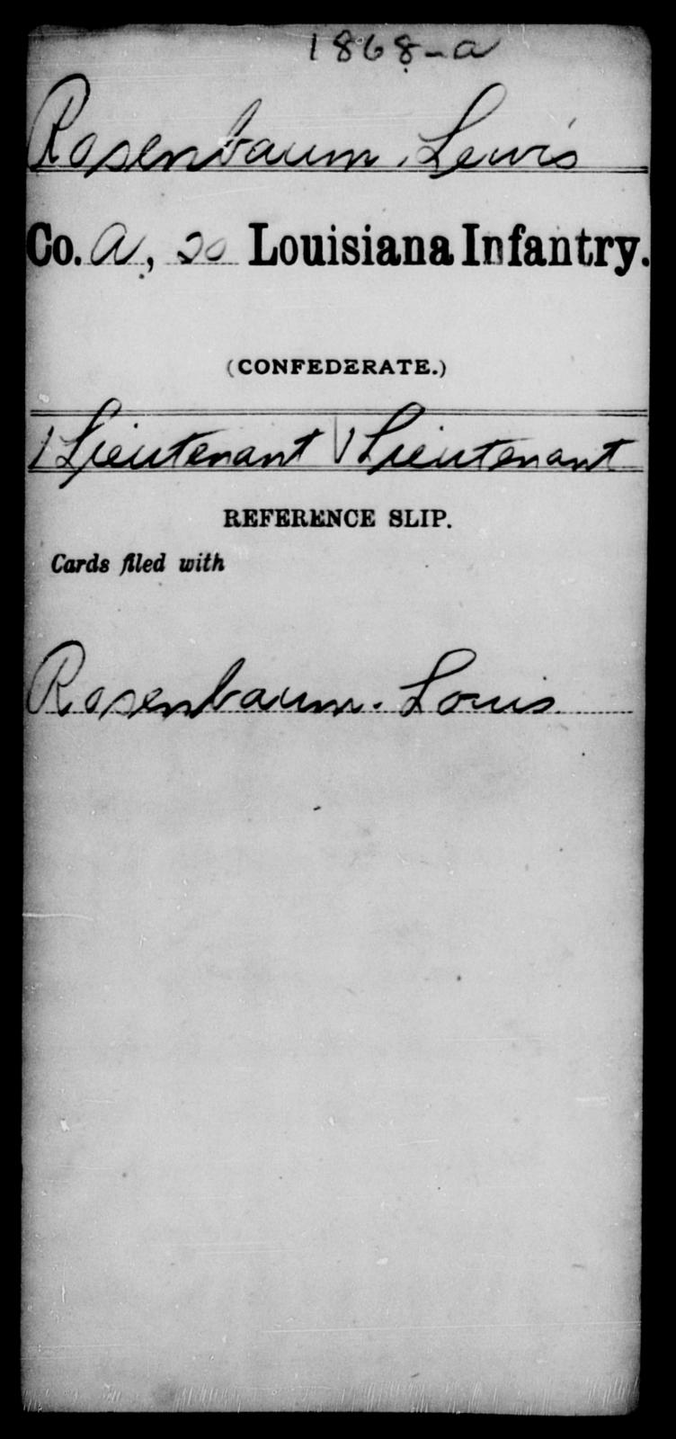 Rosenbaum, Lewis - Age [Blank], Year: [Blank] - Twentieth Infantry, Mu - Ro - Louisiana
