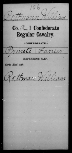 Rottmann, William - Age [Blank], Year: [Blank] - First Confederate Cavalry, U-Y AND First Confederate Regular Cavalry - Raised Directly by the Confederate Government