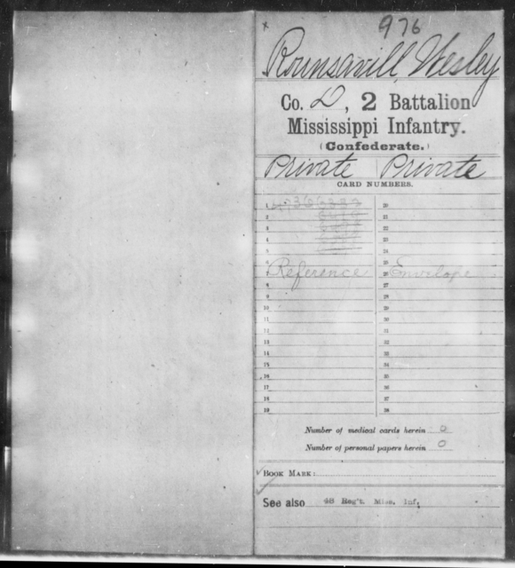 Rounsavill, Wesley - Age: [Blank], Year: [BLANK] - Mississippi Second Battalion, Infantry, R-Z AND Second (Davidson's) Infantry (Army of 10,000), A-O