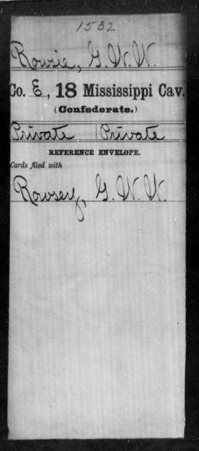 Rowsie, G W W - Age: [Blank], Year: [BLANK] - Mississippi Eighteenth Cavalry, N-Y AND Twenty-fourth Battalion, Cavalry, A-B