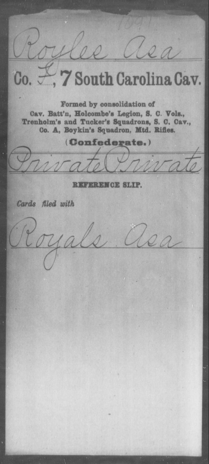 Royles, Asa - Age: [Blank], Year: [BLANK] - South Carolina Seventh Cavalry M-S1