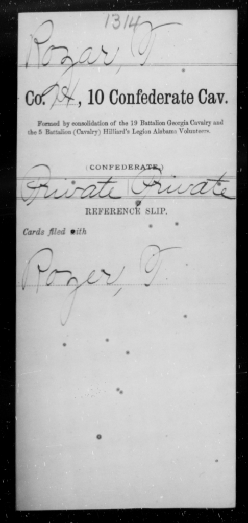 Rozar, T - Age [Blank], Year: [Blank] - Tenth Confederate Cavalry, R-Z - Raised Directly by the Confederate Government
