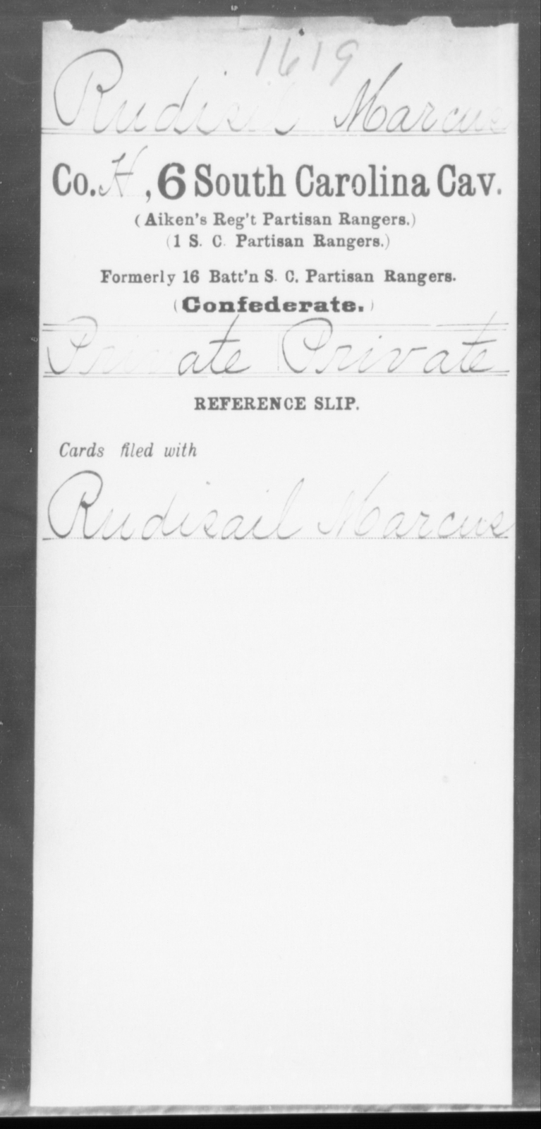 Rudisil, Marcus - Age: [Blank], Year: [BLANK] - South Carolina Sixth Cavalry Me-Se