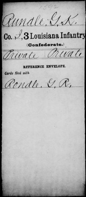 Rundle, G K - Age [Blank], Year: [Blank] - Roll Military Unit, Mu - R - Louisiana