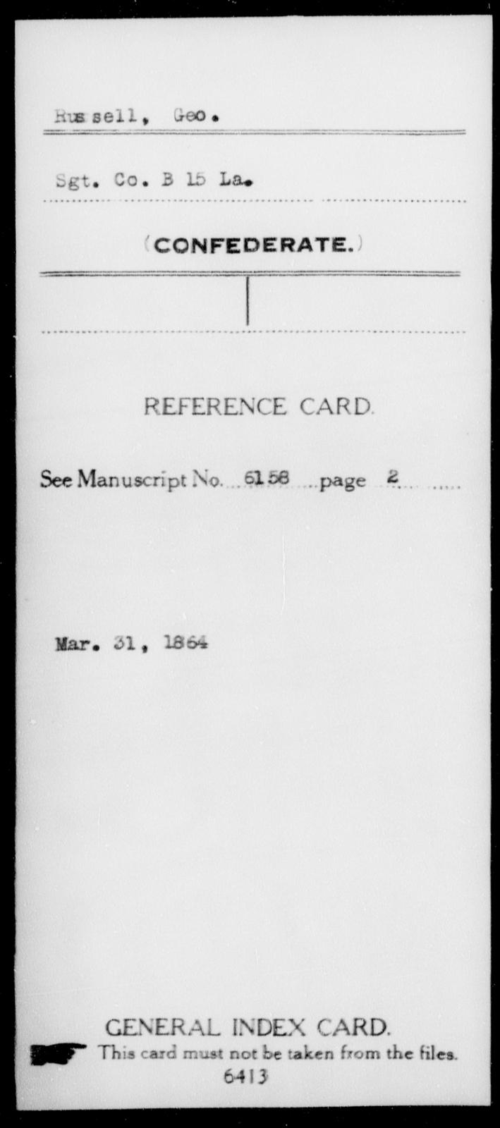 Russell, Geo - Age [Blank], Year: [Blank] - Fifteenth Infantry, No - Sm - Louisiana