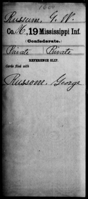 Russum, G W - Age: [Blank], Year: [BLANK] - Mississippi Nineteenth Infantry, Ro-Sp