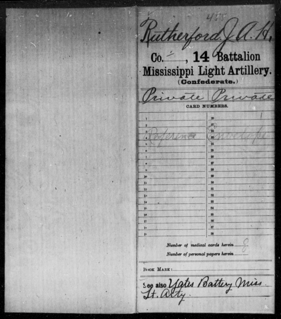 Rutherford, J A H - Age: [Blank], Year: [BLANK] - Mississippi Fourteenth Battalion, Light Artillery, R-Y AND Capt. Bradford's Co. (Confederate Guards Artillery), A-K