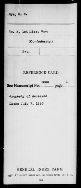 Rye, D N - Age: [Blank], Year: [BLANK] - Mississippi First Cavalry, K-R