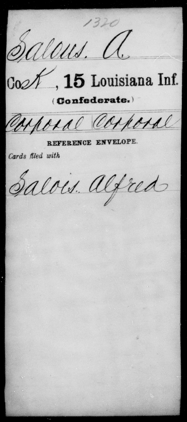 Salous, A - Age [Blank], Year: [Blank] - Fifteenth Infantry, No - Sm - Louisiana