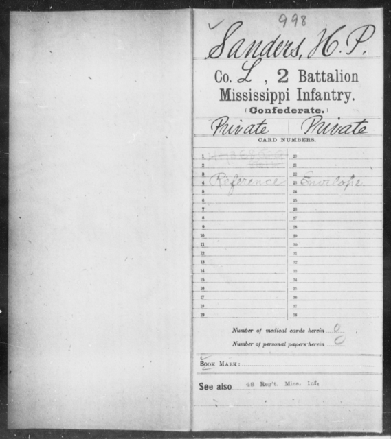 Sanders, H P - Age: [Blank], Year: [BLANK] - Mississippi Second Battalion, Infantry, R-Z AND Second (Davidson's) Infantry (Army of 10,000), A-O