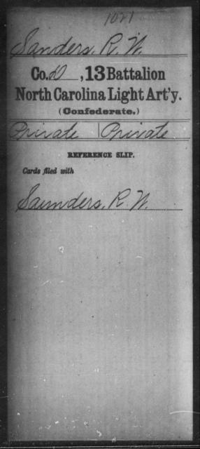 Sanders, R W - Thirteenth Battalion, Light Artillery