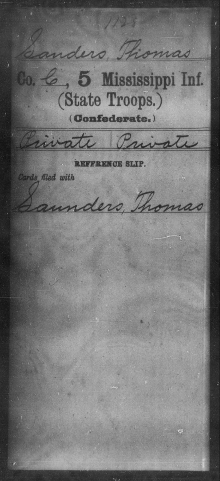 Sanders, Thomas - Age: [Blank], Year: [BLANK] - Mississippi Fifth Infantry (State Troops), N-Y