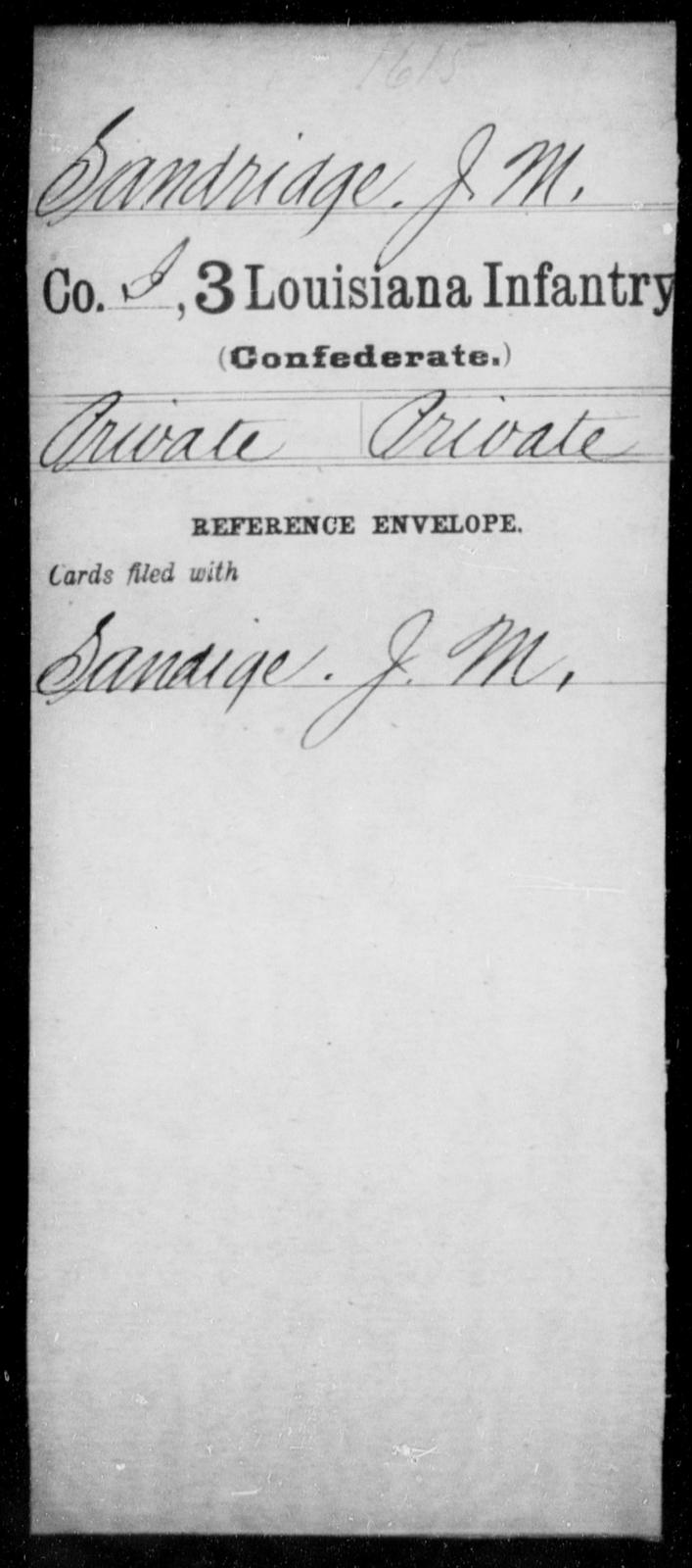Sandridge, J M - Age [Blank], Year: [Blank] - Roll Military Unit, S - T - Louisiana