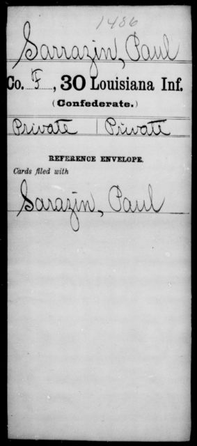Sarrazin, Paul - Age [Blank], Year: [Blank] - Thirtieth Infantry, N - Sa - Louisiana