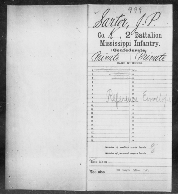 Sartor, J P - Age: [Blank], Year: [BLANK] - Mississippi Second Battalion, Infantry, R-Z AND Second (Davidson's) Infantry (Army of 10,000), A-O