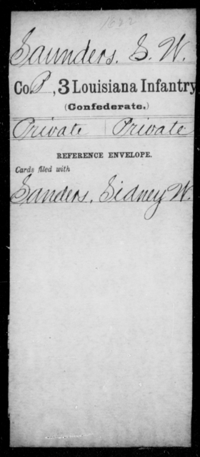 Saunders, S W - Age [Blank], Year: [Blank] - Roll Military Unit, S - T - Louisiana