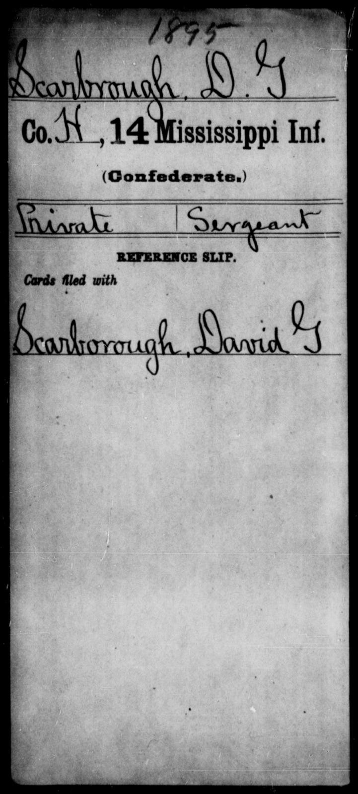 Scarbrough, D G - Age: [Blank], Year: [BLANK] - Mississippi Fourteenth Infantry, P-Sp