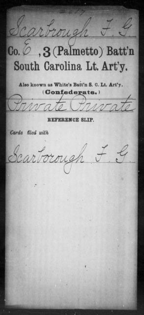 Scarbrough, F G - Age: [Blank], Year: [BLANK] - South Carolina Third (Palmetto) Battalion, Light Artillery Po-S