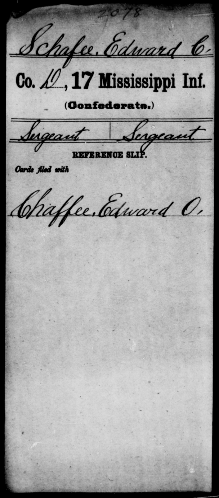 Schafee, Edward C - Age: [Blank], Year: [BLANK] - Mississippi Seventeenth Infantry, S-St