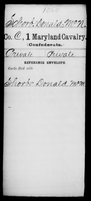 Schorb, Donald Mc N - Age [Blank], Year: [Blank] - First Cavalry, R-St - Maryland