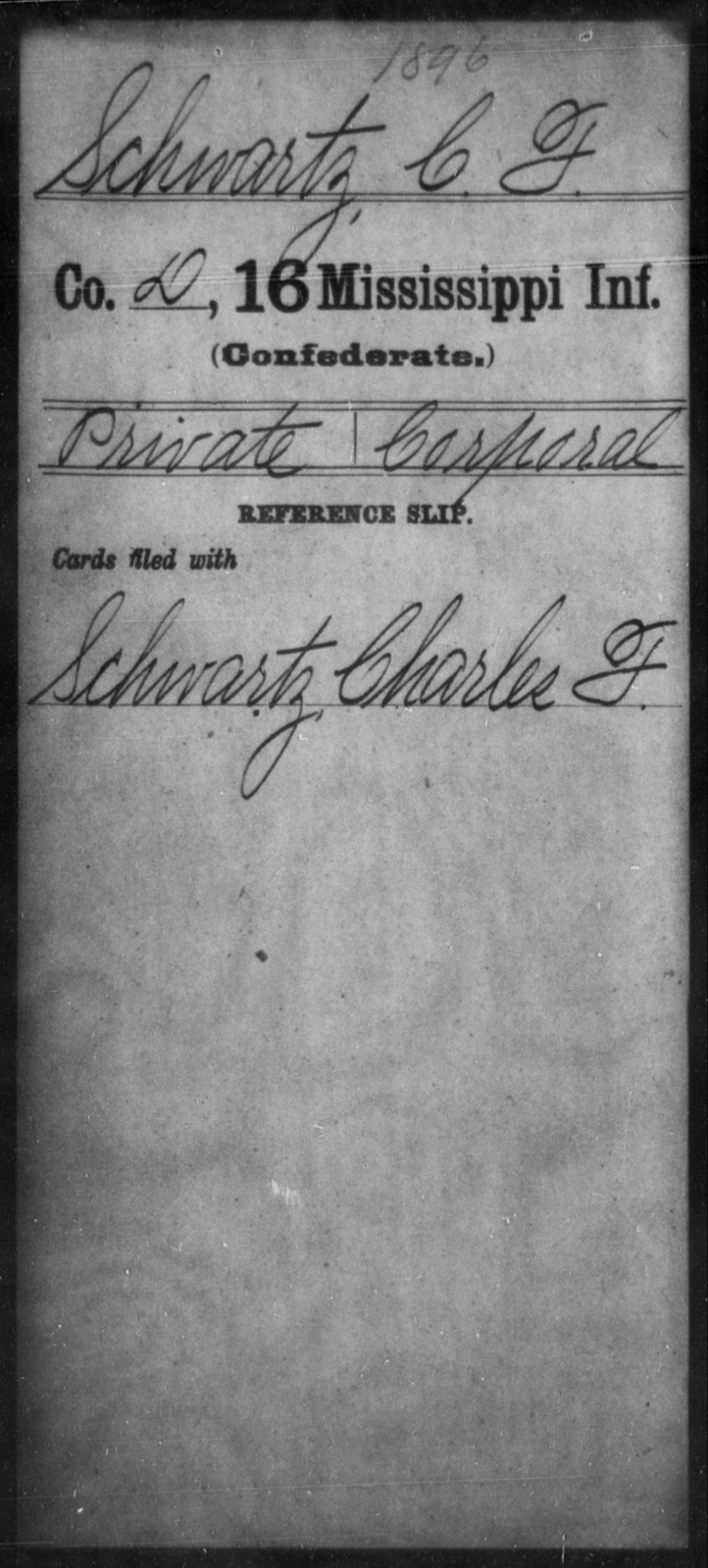 Schwartz, C F - Age: [Blank], Year: [BLANK] - Mississippi Sixteenth Infantry, A, Ro-Sn