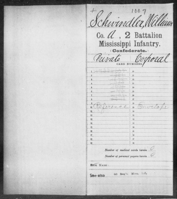 Schwindler, William - Age: [Blank], Year: [BLANK] - Mississippi Second Battalion, Infantry, R-Z AND Second (Davidson's) Infantry (Army of 10,000), A-O