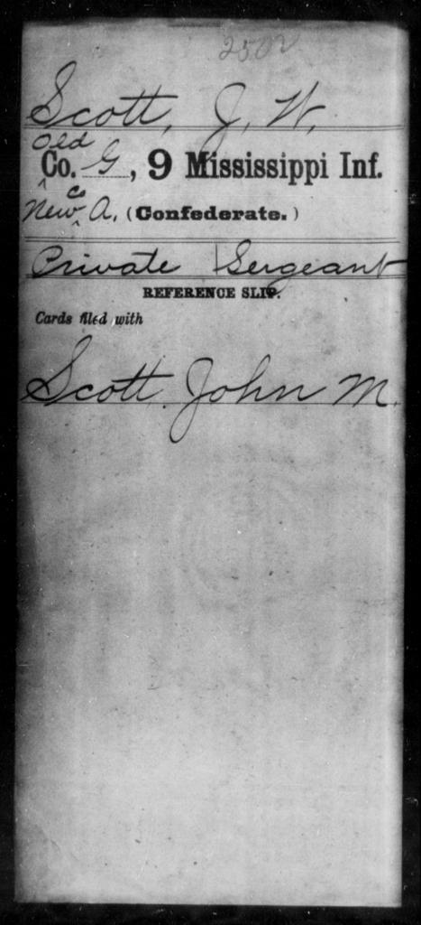 Scott, J W - Age: [Blank], Year: [BLANK] - Mississippi Ninth Infantry, Q-Sp