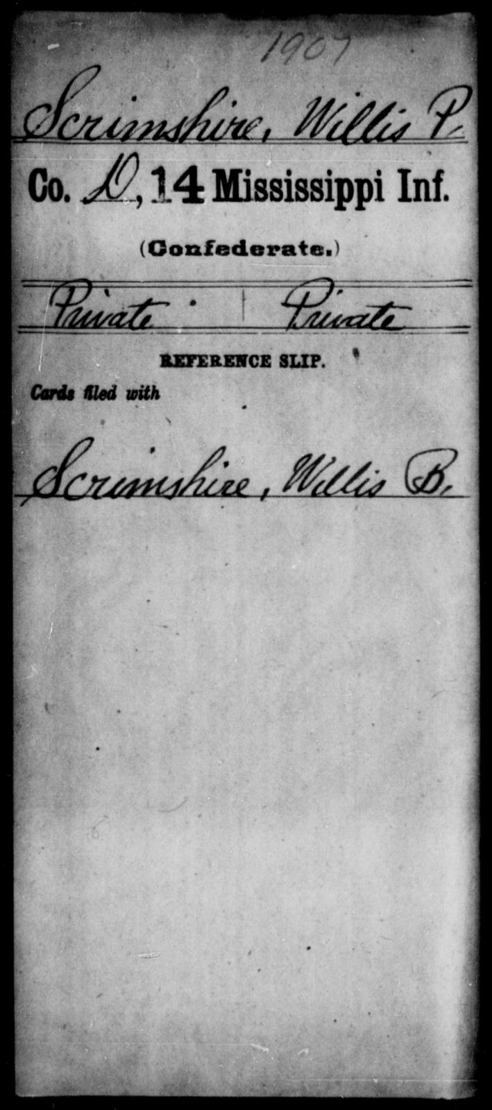 Scrimshire, Willis P - Age: [Blank], Year: 1861 - Mississippi Fourteenth Infantry, P-Sp