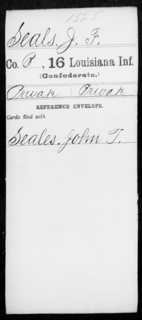 Seals, J F - Age [Blank], Year: [Blank] - Sixteenth Infantry, Rh - S AND Roll Military Unit - Louisiana