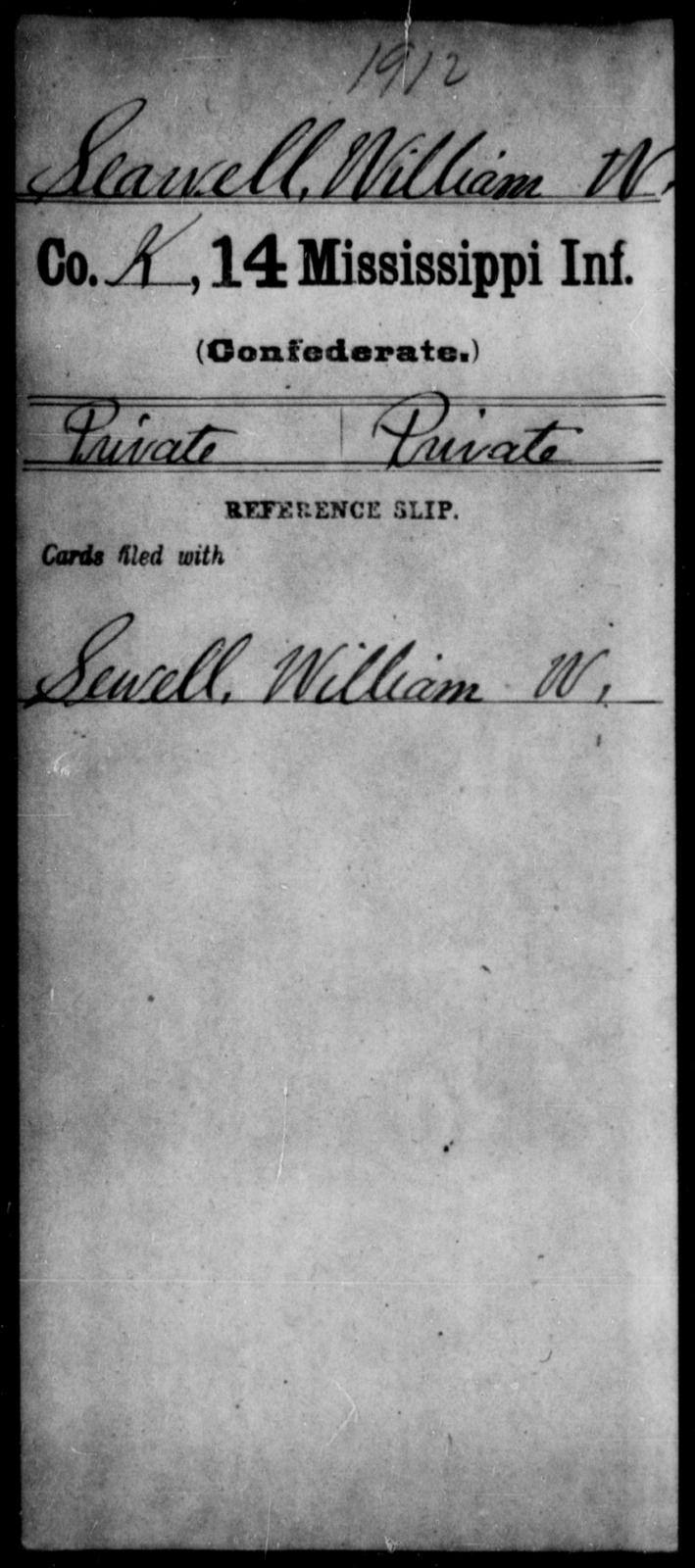 Seawell, William W - Age: [Blank], Year: [BLANK] - Mississippi Fourteenth Infantry, P-Sp