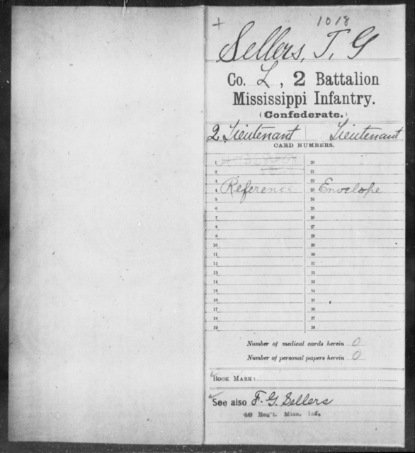 Sellers, T G - Age: [Blank], Year: [BLANK] - Mississippi Second Battalion, Infantry, R-Z AND Second (Davidson's) Infantry (Army of 10,000), A-O