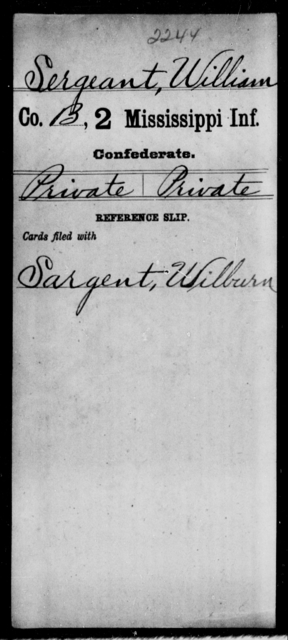 Sergeant, William - Age: [Blank], Year: [BLANK] - Mississippi Second Infantry, A, S-St
