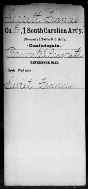 Serritt, Francis - Age: [Blank], Year: [BLANK] - South Carolina First Artillery Q-Sq