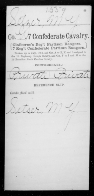 Setzer, M Y - Age [Blank], Year: [Blank] - Seventh Confederate Cavalry, Pe-S - Raised Directly by the Confederate Government